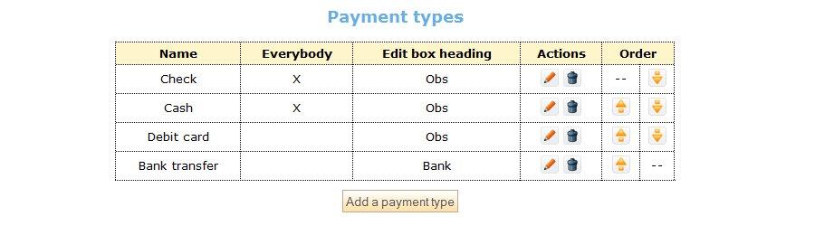types de paiement